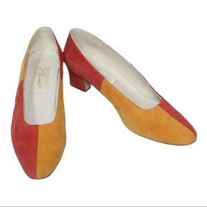 Vintage apart color block suede leather heels